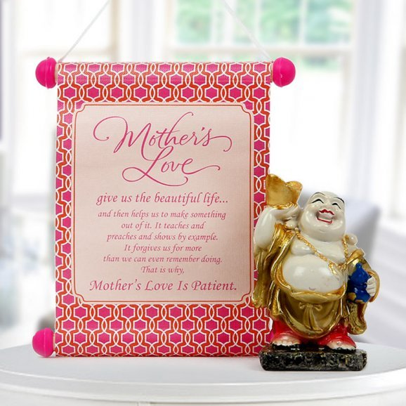 Mothers day sweet present - Laughing buddha with hanging quote for mothers