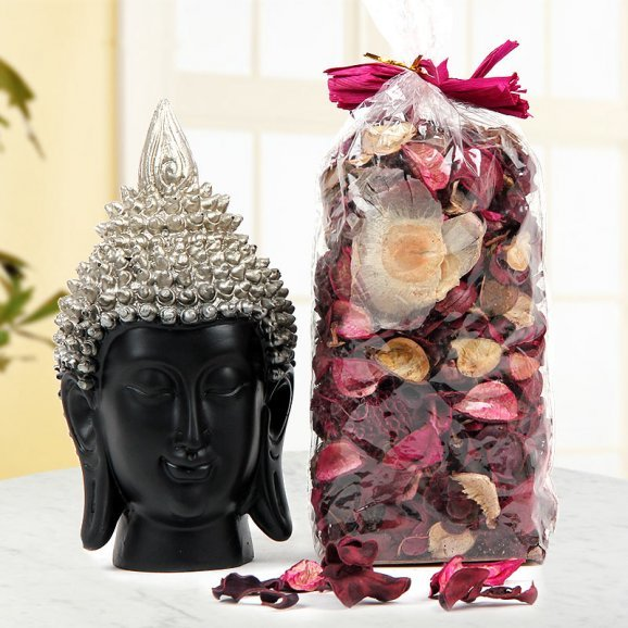 Black and Silver Buddha Face god idol and Fragrant Potpourri for someone who believe in God