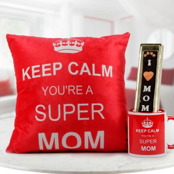 Keep Calm You are a super Mom - Combo of cushion and mug with handmade chocolate for mother