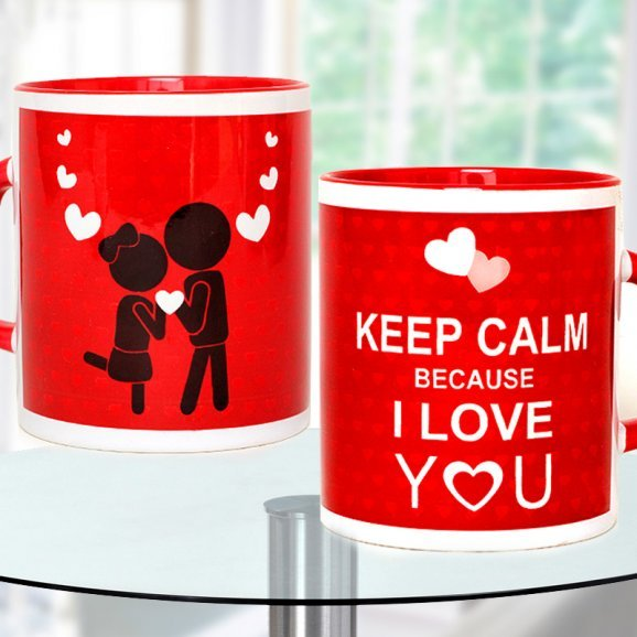 Keep Calm Because I Love you Red Mug with Both Sided View