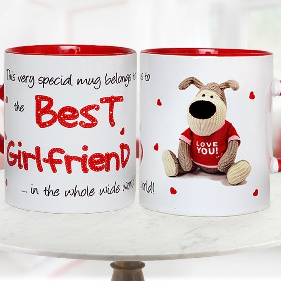 White and Red Duotone Best Girlfriend Mug with Both Sided View