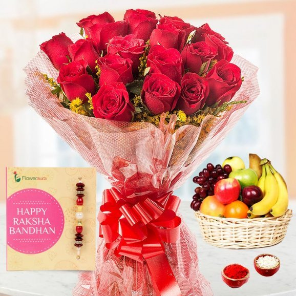 Rakhi with 20 Red Roses and 2kg Fruits