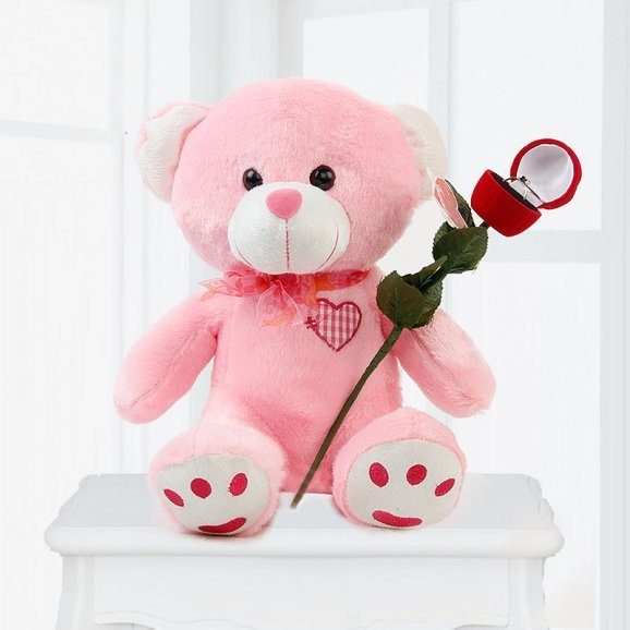 Pink Eternal Surprise - Cute Teddy and Artificial Ring
