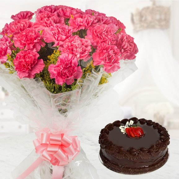 Combo of 10 Lovely Pink Carnation with Half Kg Chocolate Cake