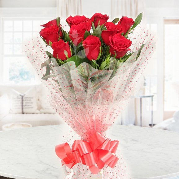 Front view of Bouquet of 10 Red Roses - A gift of Prized Bond Combo