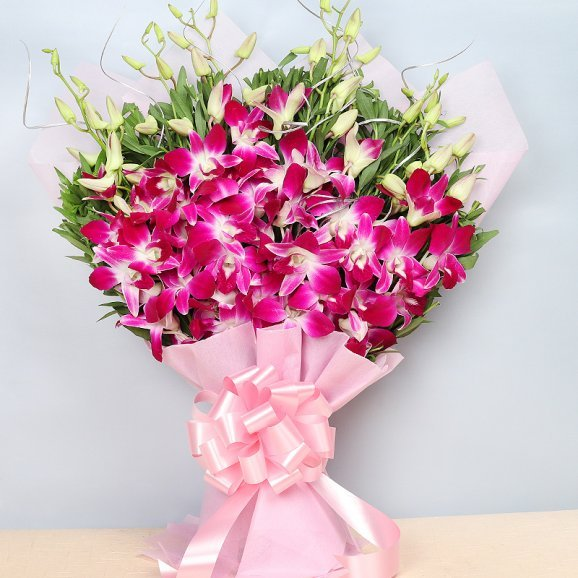 Front view of 6 Purple Orchids - A gift of Heavenly Gift Hamper