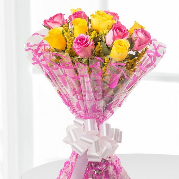 6 Yellow Roses and 6 Pink Roses