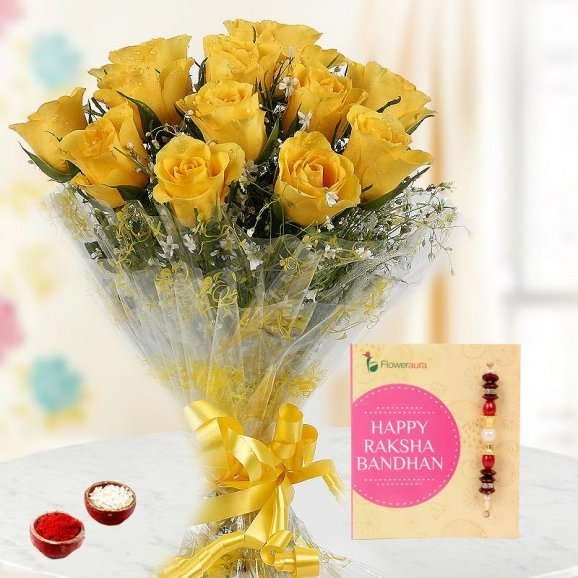 Rakhi and Yellow Roses for Brother