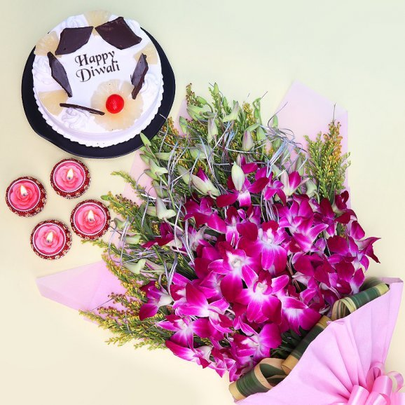 Diwali Combo of Cake and Flowers with Diyas