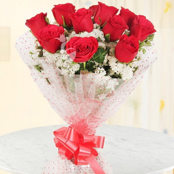 Front view of 12 red roses bunch - A gift of Serene Love Combo
