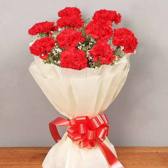 10 Red Carnations Bouquet