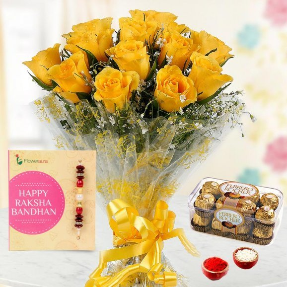 Ethnic Rakhi with 12 Yellow Roses Bunch, a 16 Pcs Ferrero Rocher Pack