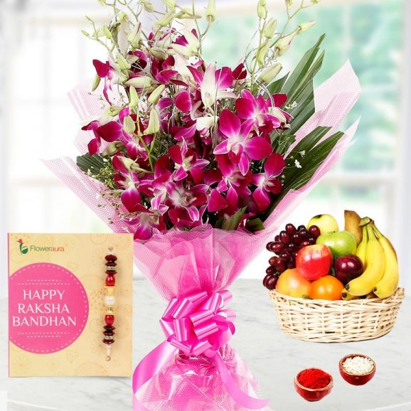 Rakhi and Sweet Flower Bunch Along with Fruit Basket for Brother