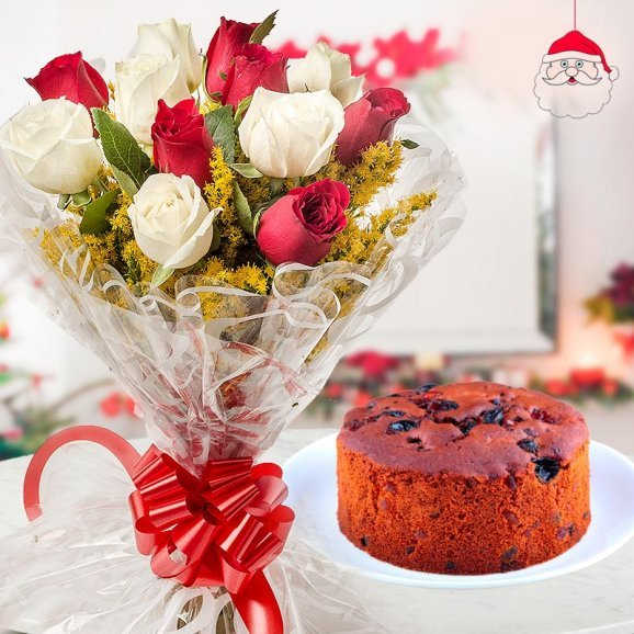 combination of a bunch of 12 red and white roses and a 1/2 kg plum cake for Christmas