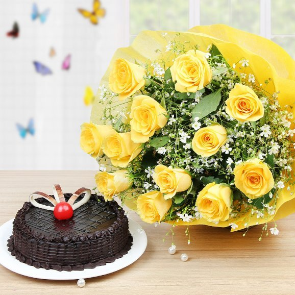 Choco Yellow Rosey Delight - 12 yellow roses bouquet with a half kg chocolate cake
