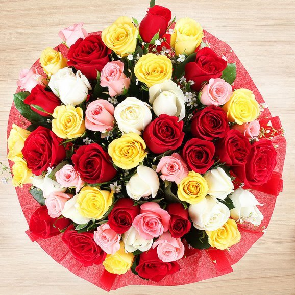 Bunch of 50 mixed roses with Top View