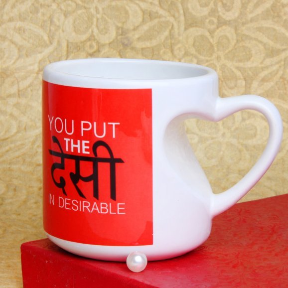 The Desi In Desirable Printed Mug with Front Sided View