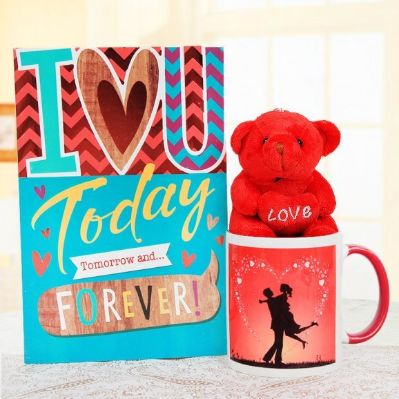 A Greeting Card and a Mug with a Red Teddy Combo
