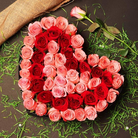 Heart Shape Arrangement of Pink and Red Roses