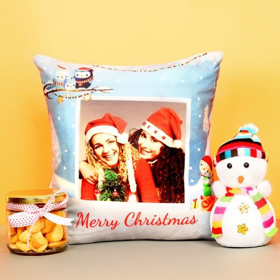 Snowmen with Personalised Cushion and Cookies