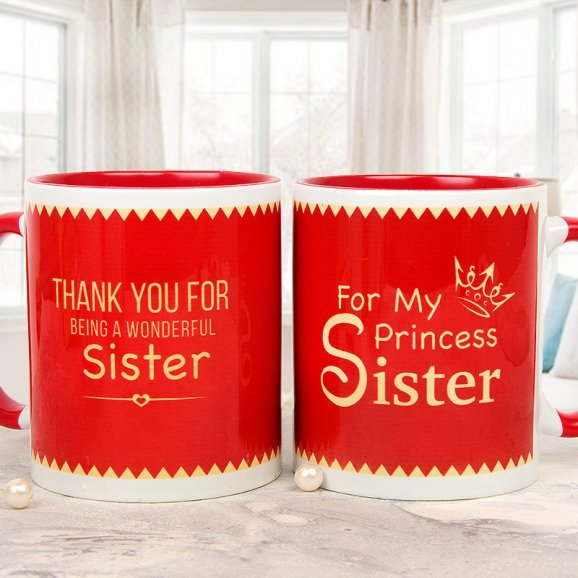 A Little Pamper Sister Mug with Both Sided View