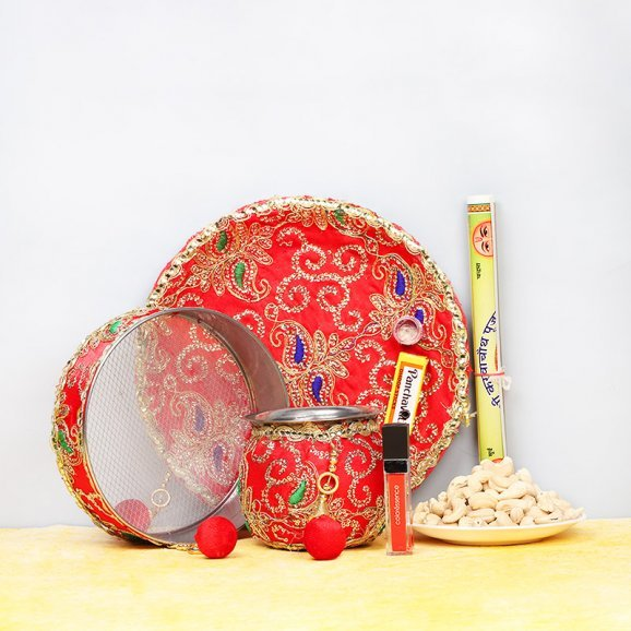 Combo of Karwa Chauth Thali with Dry Fruits and Sindoor