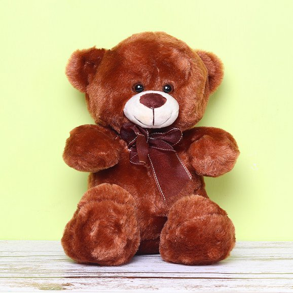 10 Inches Brown Teddy with Ribbon in the Neck