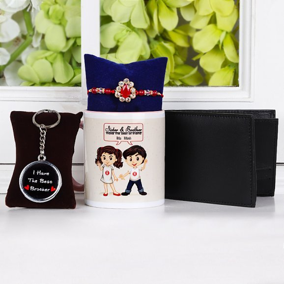 Rakhi with Keychain and Wallet Hamper