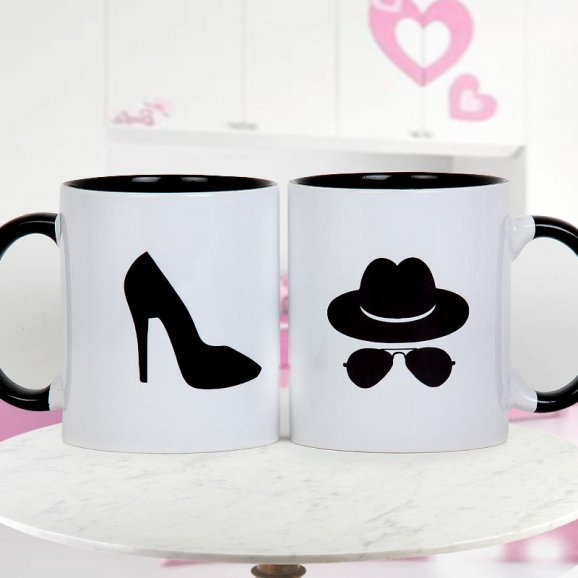 A Pair Mr and Mrs Mugs