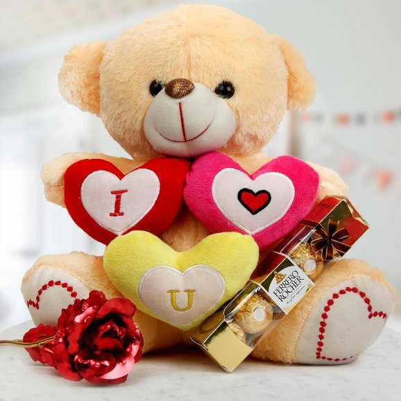 A 14 inch I Love You teddy A royal red rose and A pack of 4 Ferrero Rochers