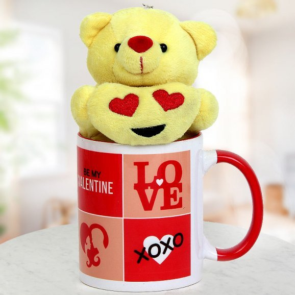 A tiny 3 inches yellow Teddy and A Be My Valentine Coffee Mug