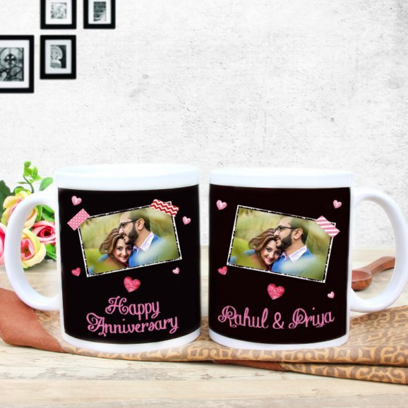 Anniversary Ecstacy - A Personalised Anniversary Mug with Both Sided View