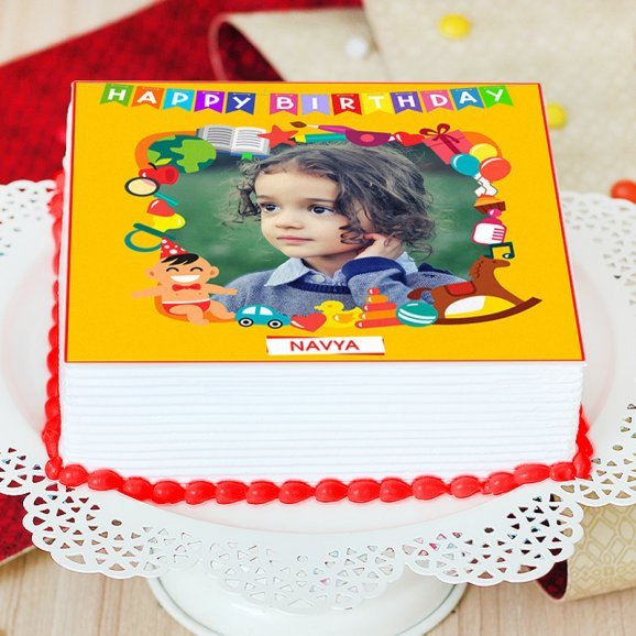 Square Shaped Photo Cake for Kids