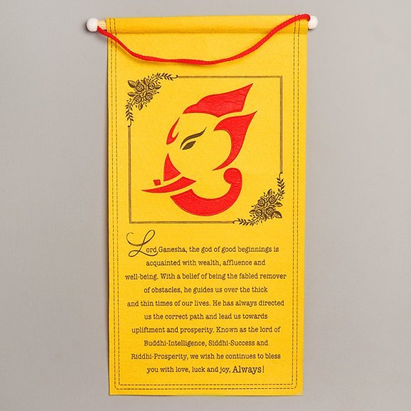 Auspicious Scroll - Golden Coloured Ganesha Scroll