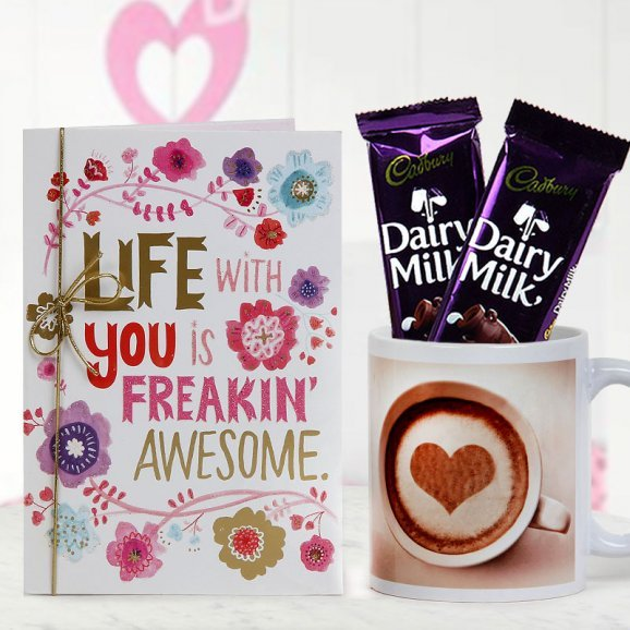 A wonderful card two Dairy Milk chocolates and You Are My Favourite Mug