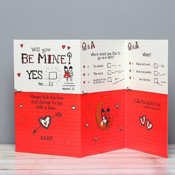 Will You Be Mine Card in Opened View
