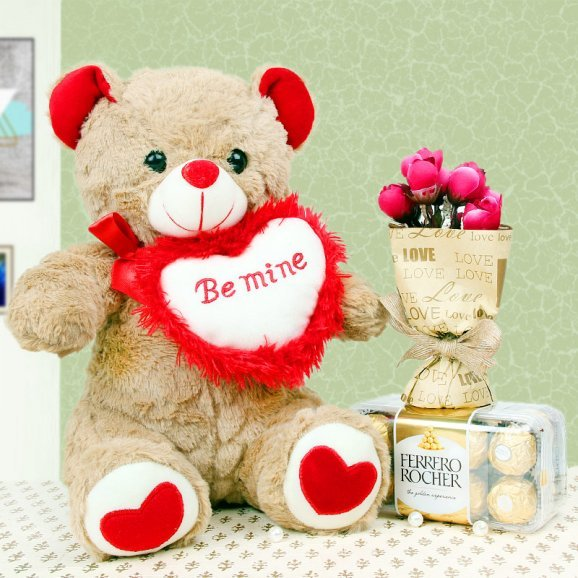 Ferrero rocher and teddy with artificial rose bouquet combo