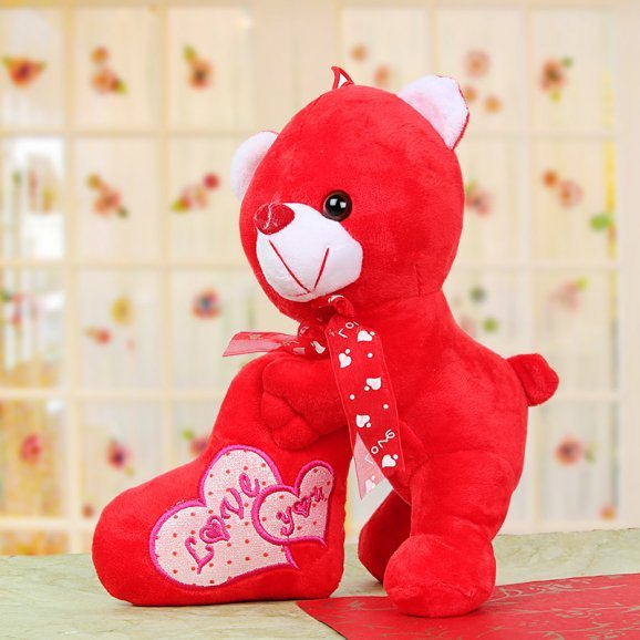 Red Teddy with Love You Heart Shaped Red Cushion