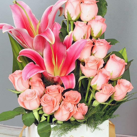 zoom view Pink Flowers Arrangement in White Box
