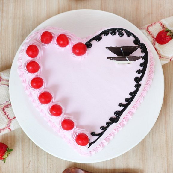 Strawberry Flavor Heart Shaped Cake - Top View