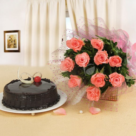 Best Compliment - Combo 10 pink roses bunch and half kg chocolate truffle
