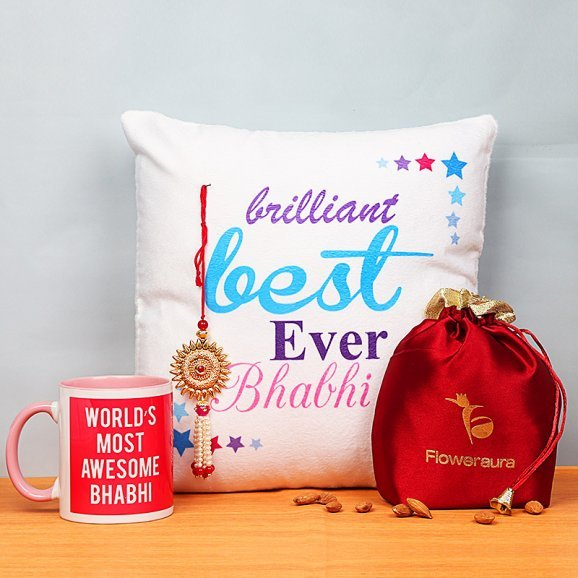 Lumba Rakhi and Cushion with Printed Mug and Dry Fruits