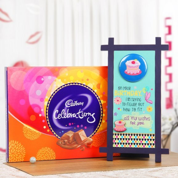A Birthday Quotation Table Stand and a Cadbury Celebrations Pack