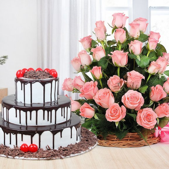 Black Forest Drip Cake Combo - 3 tier black forest cake with 30 pink roses basket
