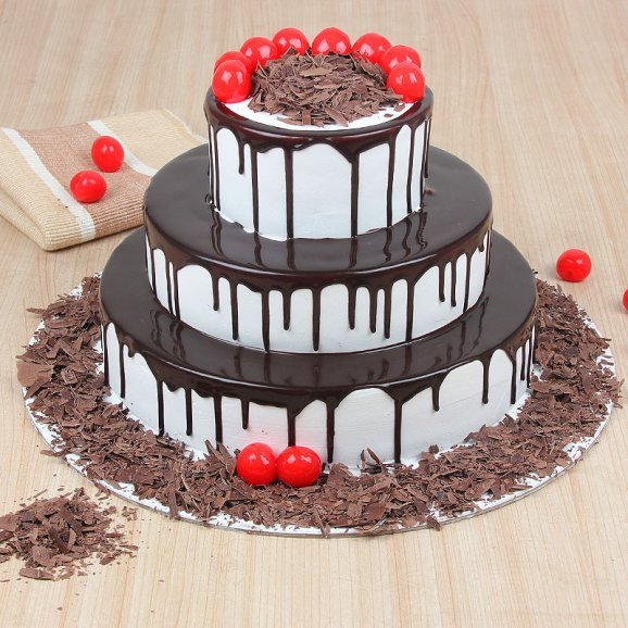 3 tier black forest cake - 1st gift of Black Forest Drip Cake Combo