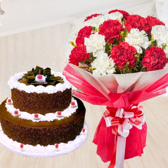 Black Forest Love - Combo of red and white carnations and 2 tier black forest cake