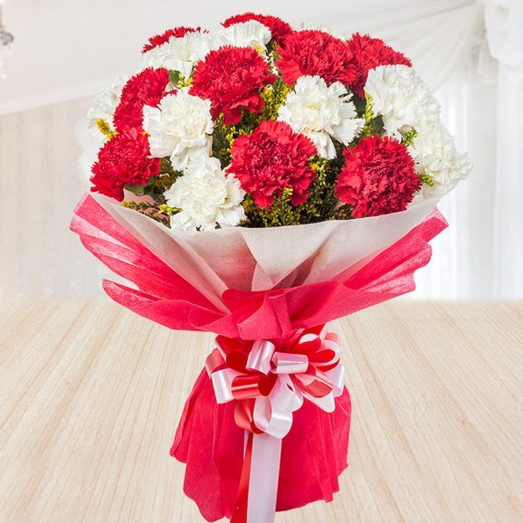 Front view of bouquet of red and white carnations - 1st gift of Black Forest Love
