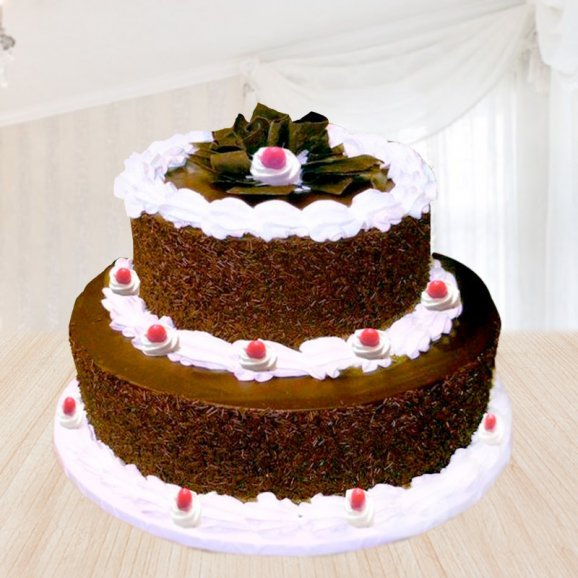 Front view of bouquet of 2 tier black forest cake - 2nd gift of Black Forest Love