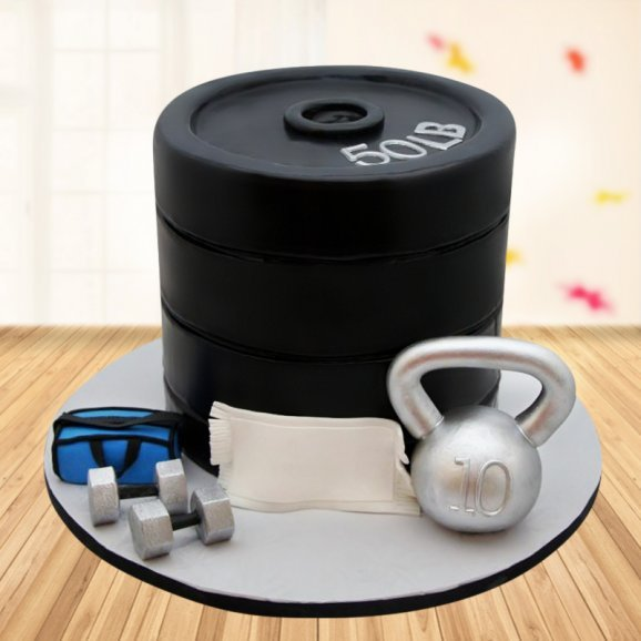 Fondant Cake For Gym Lovers