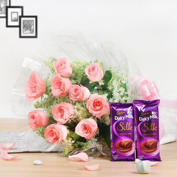 Bountiful Celebrations - Combo of 10 Pink Roses and 2 Chocolates